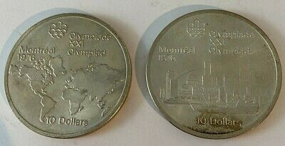 Canada 1973 Silver $10 Coin - 1976 Montreal Olympics times TWO !!! 2 coins