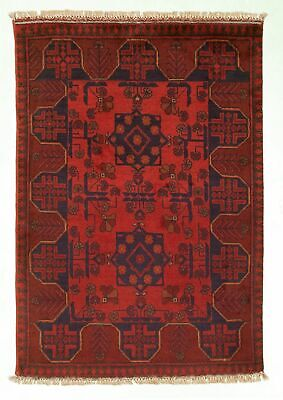 "Hand-knotted Carpet 2'8"" x 3'11"" Traditional Vintage Wool Rug"