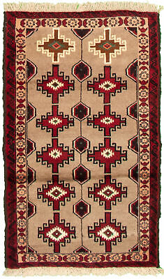 "Hand-knotted Carpet 2'11"" x 5'3"" Traditional Vintage Wool Rug"