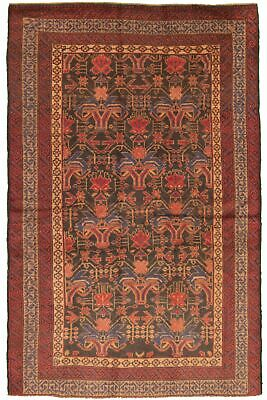 "Hand-knotted Carpet 4'6"" x 7'2"" Traditional Vintage Wool Rug"