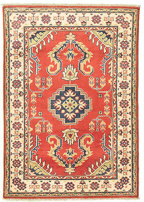 "Hand-knotted Carpet 3'4"" x 4'9"" Bordered, Traditional Wool Rug"