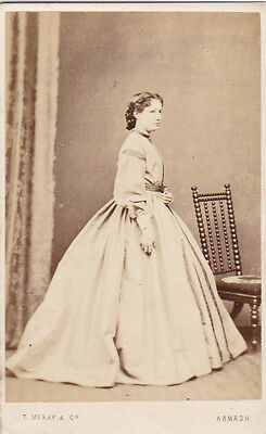 Armagh Old Cdv Photo Gentry Lady Large Stripped Dress Antique Photograph