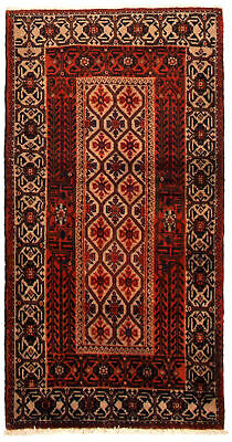 "Hand-knotted Carpet 2'10"" x 5'5"" Traditional Vintage Wool Rug"