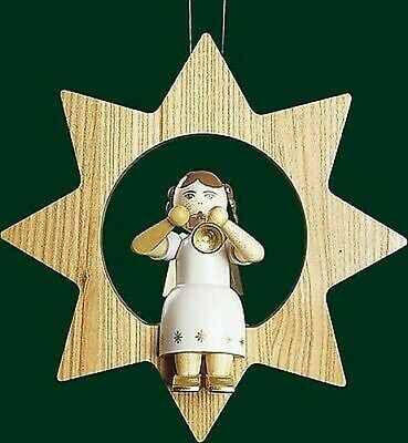 Christmas Tree Ornament Angel With Trumpet IN Star Trunk 13505