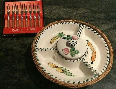 Retro  Hors d'oeuvres Serving Tray with 4 china compartments & Cocktail Forks.