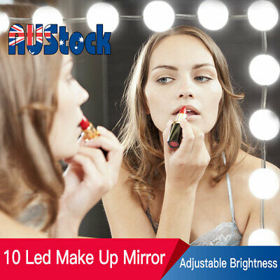 LED Make Up Mirror Lights 10 Bulbs Vanity Light Dimmable Lamp Hollywood Style