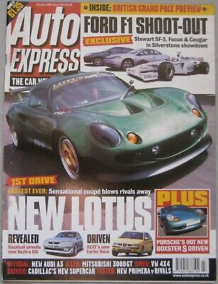 Auto Express magazine 7-13 July 1999 featuring Lotus, Ford, Nissan, Honda, VW