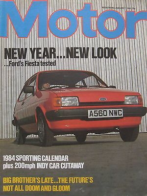 Motor magazine 7 January 1984 featuring Ford Fiesta road test, March 83C cutaway