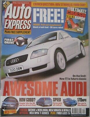 Auto Express magazine 26/8-1/9/1998 featuring Audi, Ford, Nissan