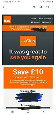 "B&Q ""£10 off When you spend £75"" voucher - codes for use online or in store"