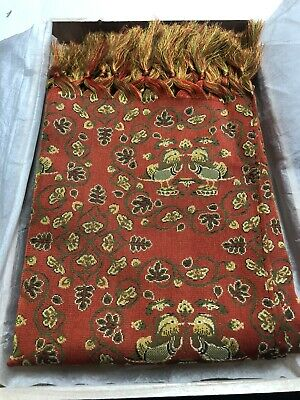"""Tatsumura Textile Scarf Large """"Brocade With Mandarin Ducks And Flowers"""". Boxed."""