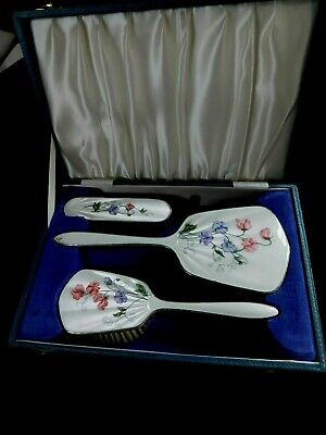 Vintage Boxed Solid Silver & Guilloche Enamel Mirror & Brushes - Robert Stewart