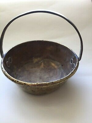 Old brass jam pan with rolled lip and fixed cast iron handle