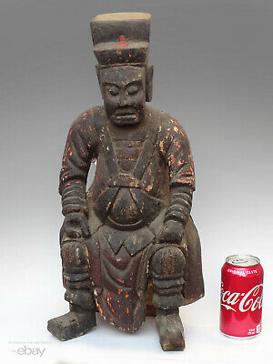 18th C. Antique Chinese Taoist Buddhist Temple Alter Figure Wood Carved Daoist