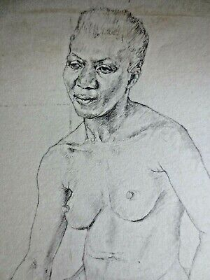 1950s Gillian Whaite pencil drawing black woman life study nude Slade School
