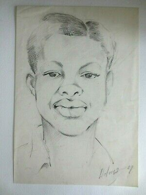 1949 pencil sketch signed Dolores of young black man portrait by woman artist