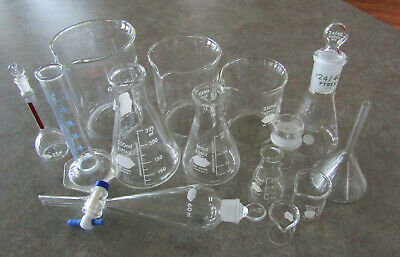 14 pc set +3 stoppers chemistry glassware assortment Kimax, Pyrex, beakers &