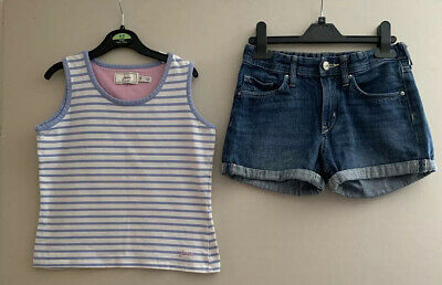 Joules Girls Striped Vest Top And &Denim Shorts Aged 9-10 Years