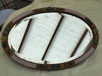Stunning Vintage Shabby Chic  Barbola Hand Painted Floral  Oval Mirror