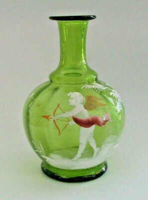 19th Century Mary Gregory Glass - Cupid on Green Bottle