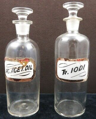 Lot of 2 Antique Labeled Drugstore Glass Bottles