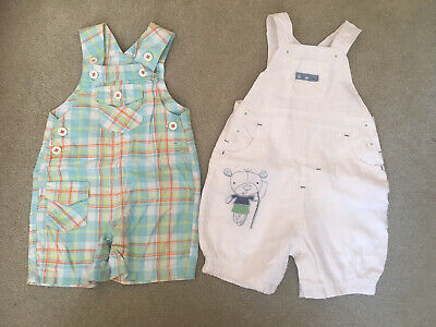 Baby Boys Summer Shorty Dungaree Bundle Age 9-12 Months Marks And Spencer