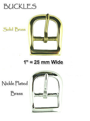 "Belt Buckle Fits 1"" Wide Belts Single Pronged Replacement Buckle Solid Brass"