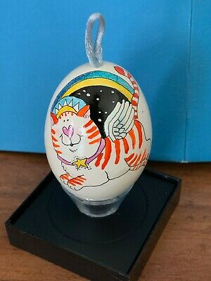 "Charming Orange Tabby Cat Egg Ornament • Signed ""Rae ©'99"" • Angel Wings + Crown"