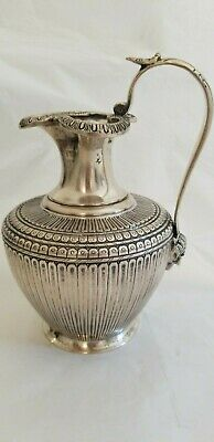 Unusual Collectible Faced Modernistic  Italian Silver Pitcher