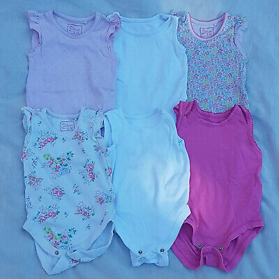 Baby Girl 6-9 Months Sleeve less Baby Grow Vests 6 Piece Bundle Next F&F EarlyDa