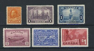 6x MH $1.00 Canada stamps #122-227-245-273-302-411 4 w GD Guide Value = $347.00