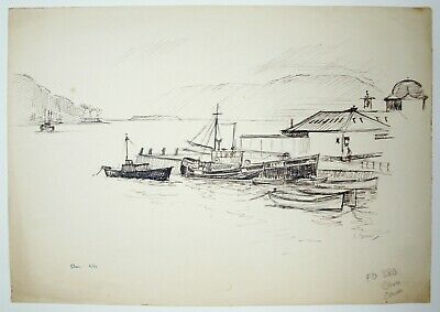 Laurence Dunn (1909-2006) Ink drawing Oban 1950. Modern, British seascape