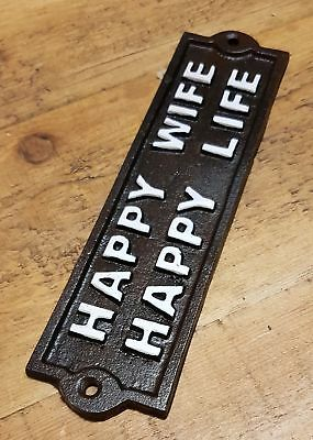 Cast Iron Antique Style Wall Mounted Black Plaque / Sign HAPPY WIFE HAPPY LIFE