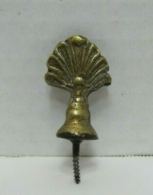 Antique Brass Fan Clamshell Finial Threaded Screw Base Decorative Arts Hardware