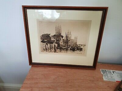 Antique Etching Signed  Sir Ernest George Late 19 Th Century Westminster Vintage