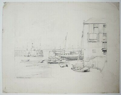 Laurence Dunn (1909-2006) Drawing. Harbour with boats. Early 20th century.