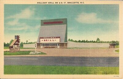 Drive-In Movie Theater, Grill Restaurant, Shallotte, NC, Linen Postcard 1959