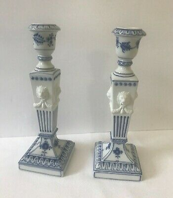 A Pair Of Royal Copenhagen Porcelain Candlesticks With Lion Heads.