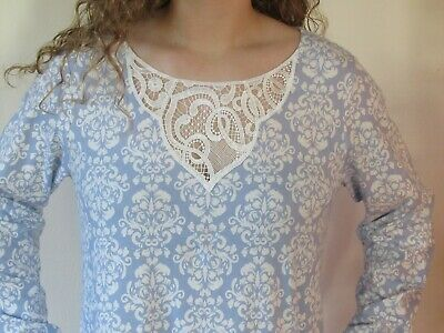 Charter Club Long Nightgown Blue White Soft Cotton Brushed Knit Gown L