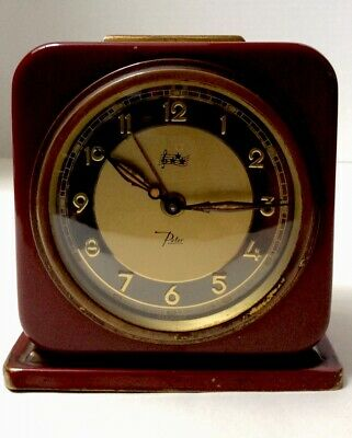 """Antique Made in Germany """" Peter """" Musical Alarm Clock Plays Music For Alarm"""