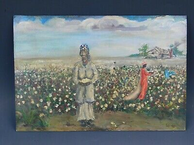 Signed Mystery Artist African Woman Cotton Field Acrylic Painting On Board 1998