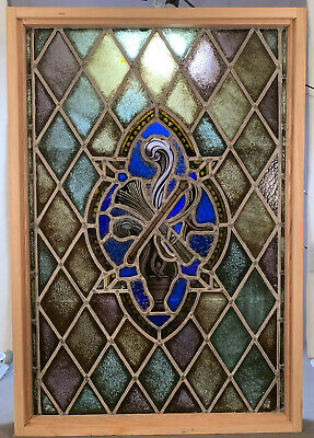 LG Antique STAINED LEADED GLASS Old PAINTING Architectural Salvage WINDOW