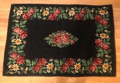 Antique hand made Wool needlepoint rug black & red roses One of a kind & Perfect