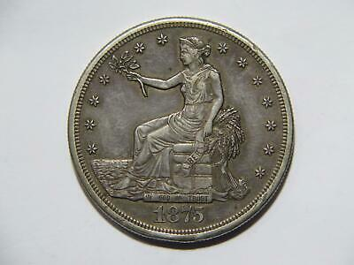 Trade Dollar 1875 S T$1 90% Silver Low Grade Damaged U.s. Mint Type Coin 🌈⭐🌈