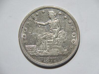 Trade Dollar 1877 P T$1 90% Silver Low Grade Damaged U.s. Mint Type Coin 🌈⭐🌈