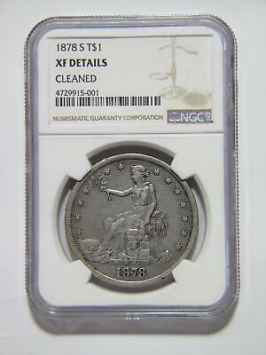 Trade Dollar 1878 S T$1 Ngc Graded Xf-Details Silver U.s. Mint Type Coin 🌈⭐🌈