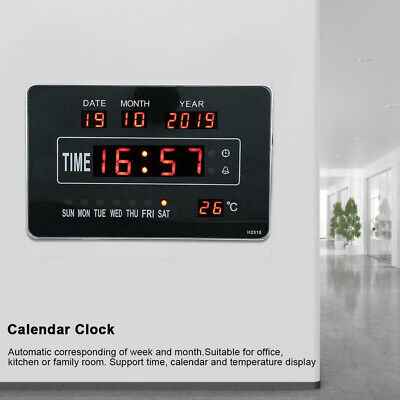 UK LED Digital Wall Clock Date Temperature Perpetual Calendar Living Room Decor