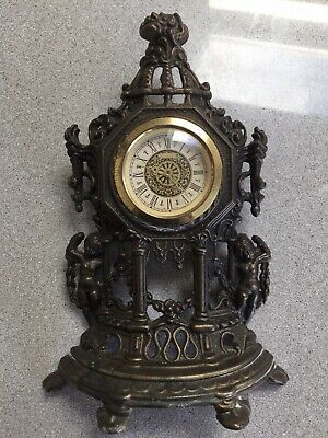West Germany Brass Shelter Mantle Clock With Movement