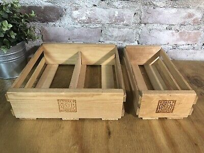 2 Napa Valley Wooden  Audio Cassette Tape Storage Organize Crates Single Double