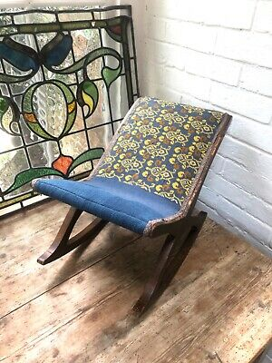 Antique Footstool/ Gout Stool Tapestry Upholstery 19thC